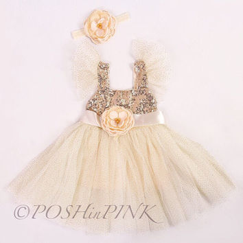Flower girl dress, gold flower girl dress, baby dress, rustic girl dress, baby flower girl dress, country flower girl, gold dress, vintage
