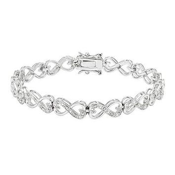 Sterling Silver Round-Cut Diamond Infinity Double Heart Bracelet
