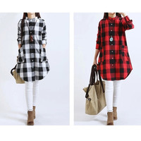 Plaid Maternity Dress Long Blouses Clothes for Pregnant Women 2015 New Fashion Spring Clothing for Pregnancy Roupa Gestante = 5739115457