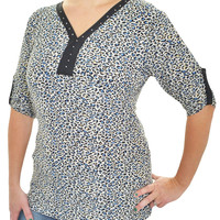 Crystal Accent Roll Tab Stretch Shirt (Blue Leopard)