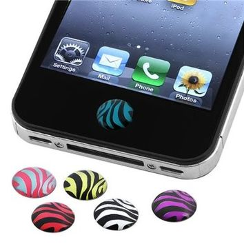 INSTEN 6 Pieces Zebra Patterns Home Button Sticker for new Apple iPhone 4S:Amazon:Cell Phones & Accessories