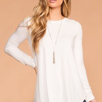 Krysha Ivory Round Neck Long Sleeve Top