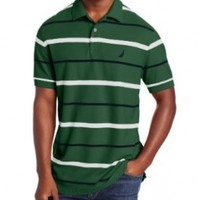 Nautica Men's Short Sleeve Stripe Deck Polo, Dark Green, X-Large