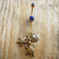 Shell Starfish Turtle Belly Ring, Nautical/ Beach Belly Ring, Navel Piercing, Gold Belly Button Jewelry, Boho Beach Long Dangle.