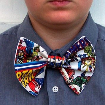 Captain America Comic Book Bow Tie Superhero Marvel Licensed Fabric