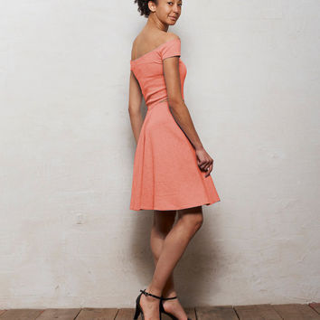 Minnie Off Shoulder Skater Dress with Cut Outs in Pastel Coral Pink