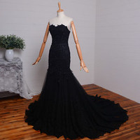 Sweetheart Black Lace Mermaid Women Dress Evening Dress Prom Gown Custom Made