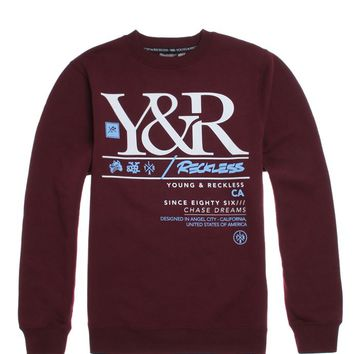 Young & Reckless Sharp Shooter Crew Fleece - Mens Hoodie - Maroon