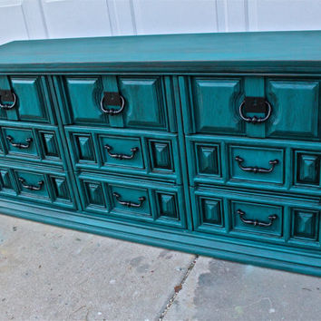 Gypsy Teal Vintage Dresser/ Bright Buffet/ Bedroom Furniture/ Distressed /Black Drawer Pulls/ TV Stand/ Storage/ Dining Room Furniture