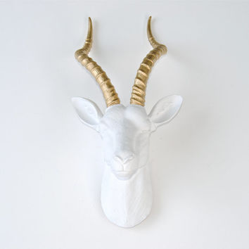 Large White and Gold Antelope Head Wall Mount - Faux Gazelle Wall Hanging - Faux Taxidermy White Antelope Head with Gold Horns ANT0108
