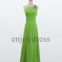 Custom Lime Green Beads Long Bridesmaid Dresses 2014 Prom Dresses Formal Evening Dresses Wedding Party Dresses Homecoming Dresses
