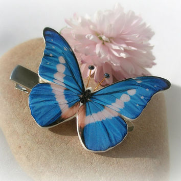 Blue White Butterfly Polymer Clay Hair Clip