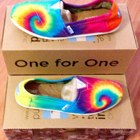 Rainbow Tie-dye TOMS Shoes, Custom Women's