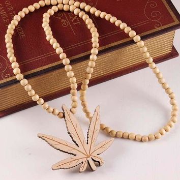 Stylish Gift Jewelry New Arrival Shiny Wooden Pendant Leaf Necklace [47755722764]