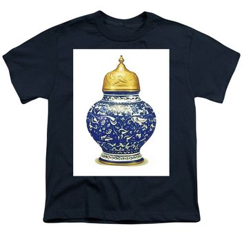 An Ottoman Iznik Style Floral Design Pottery Polychrome, By Adam Asar, No 9a - Youth T-Shirt