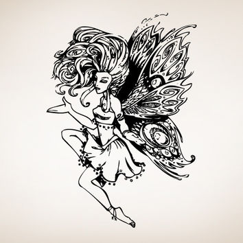 Vinyl Wall Decal Swirl Fairy with Wings #SIrwin107
