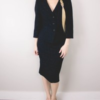 Vintage 90s Black Sparkly Blazer Skirt Suit 2 Piece Set