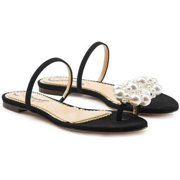 Ora Suede Sandals with Pearl Embellishment - Charlotte Olympia | WOMEN | KR STYLEBOP.COM
