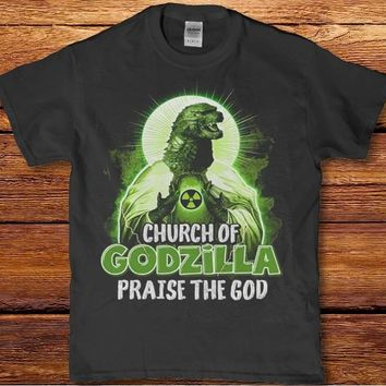 Church of Godzilla praise the god funny horror unisex t-shirt