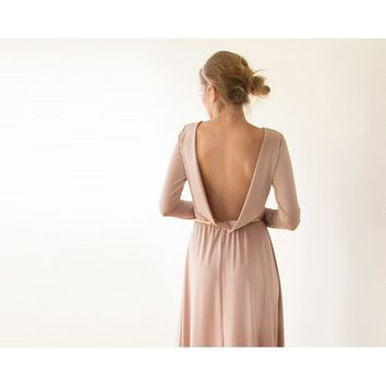 Open back gold-champgne mini dress with long sleeves (Taupe, Blush Pink)