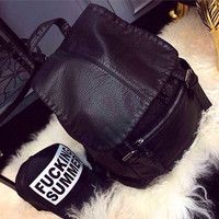 Street Chic Leather Large Backpack Daypack Travel Bag Motorcycle Bag