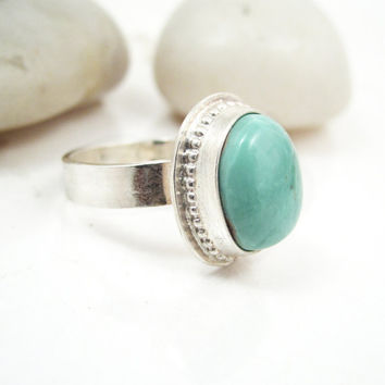 Turquoise Sterling Silver Ring Size 6 Southwestern Turquoise Jewelry - Aquatic Ring
