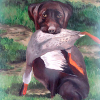 Chocolate Lab Labrador Retriever Duck Hunting Father's by earthluv