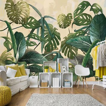 Custom Mural Wallpaper Tropical Rain forest Palm Banana Leaf Large Murals Wall Painting Wallpapers For Living Room Decoration 3D