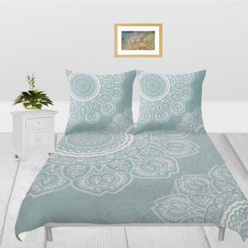 Duvet Cover - 4 different sizes, Without Insert, Bedroom, Home decor, Mandala, Boho, Hippie, With or Without Shams, White, Green, Sage, Grey