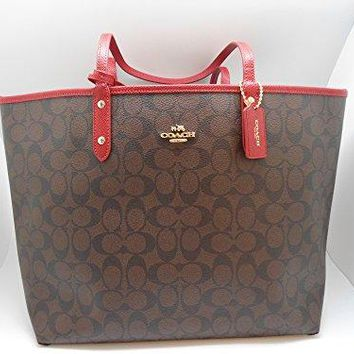 COACH F36658 SIGNATURE REVERSIBLE CITY TOTE BROWN TRUE RED