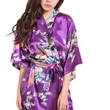 Satin Kimono Robes For Women