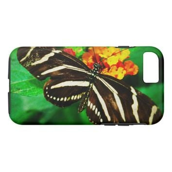 Black white stripe butterfly photo cell phone case