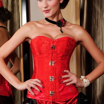 Brocade Steampunk Corset with Clasp Fasteners Red