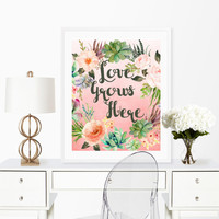 Succulent Art Print, Love Grows Here, Succulent Wreath, Cactus Wall Art, Digital Download, Printable 8x10, Succulent Wall Art, Cactus Print