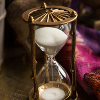 Vintage Pewter Twig Hourglass Timer Gold Leaf