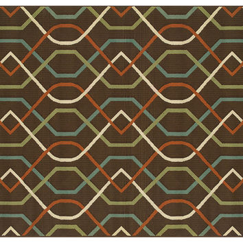 Omana Outdoor Rug, Brown/Multi, Area Rugs