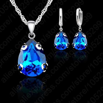 JEXXI 14 Colors! New Hot  Silver Color Jewelry Set With Austria Crystal Water Drop Pendant Necklace & Earring Jewelry Sets