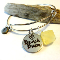 Beach Babe Sea Glass Bangle Bracelet, Coastal Chic Gift, Initial Charm Bracelet, Silver Bangle, Bridesmaid Gift, Bridal Jewelry