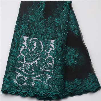 Dark Green Nigerian french net lace tulle embroidered swiss voile african lace fabrics with stones beads 5yards/lot NA539B-2