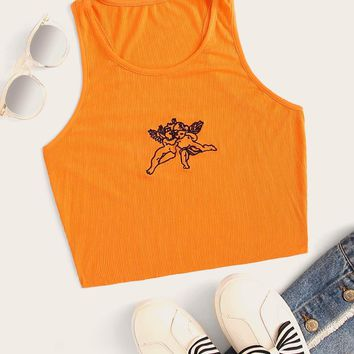 Neon Orange Angel Embroidery Knit Tank
