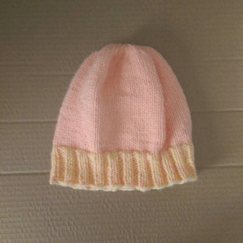 Pink and Yellow Warm Winter Hat, Knitted Beanie, Womens Winter Hat Trendy, Womens Beanie