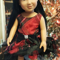 "18 inch doll clothes ""A Christmas Plaid"" 18 inch doll dress leggings headband Christmas black red plaid H4"