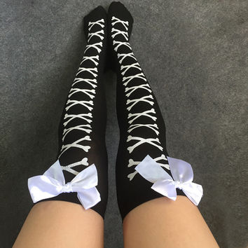 Sexy Cosplay Striped Knee stockings Girl Meias Printed Thigh stockings Female Over The Knee High Socks Pantyhose Skeleton W5