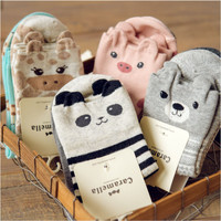 New Brand Caramella Kawaii Animal Socks Cute Japanese Women Panda Pig Bear Giraffe Cartoon Sock Novelty Cotton Long Socks