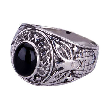 .925 Silver Falconer Agate Stone Ring for Guys Fashion Black Onyx Jewelry for Men-Size 8