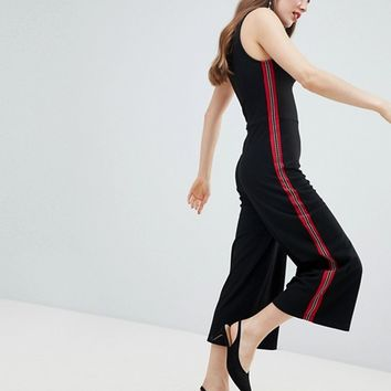 Stradivarius Sidestripe Wide Leg Jumpsuit at asos.com