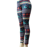 Great Christmas Design Leggings 4-One Size.  Navy Reindeer!