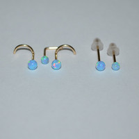 Gold Blue 3mm Opal Nose Stud/Ring - 16 gauge Small Earring, cartilage,helix,tragus,ear handcrafted 16g jewelry