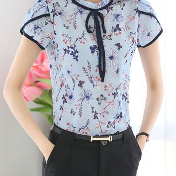 Band Collar Contrast Trim Floral Printed Petal Sleeve Blouse