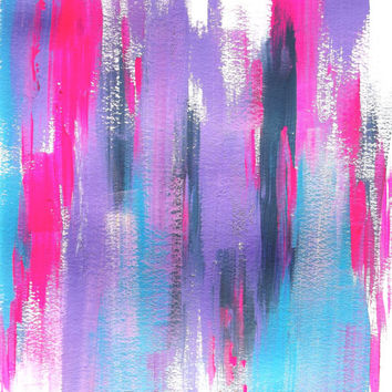 Abstract Pink, Blue, Teal, Navy Blue, Neon Acrylic Original Painting - Modern Home Decor